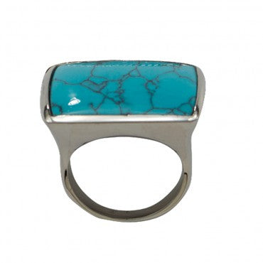 Montana Silversmiths Ladies Blue Earth Turquoise Silver Ring - Pete's Town Western Wear