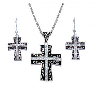 Montana Silversmiths Ladies Antique Rhinestone Cross Jewelry Set - Pete's Town Western Wear