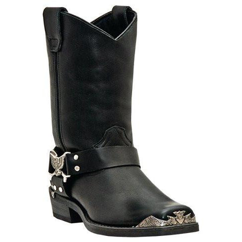 Dingo Men's Black Harness Boot with Silver Eagle Accessories