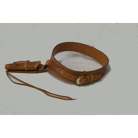 Hand Tooled Natural Embossed Western Leather Gun Belt Single Holster - Pete's Town Western Wear