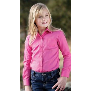 Cruel Girl Kids Pinpoint Collection Pink Logo Western Shirt - Pete's Town Western Wear