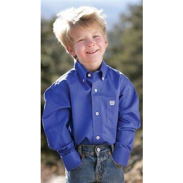 Cinch Solid Blue Children's and Boy's Long Sleeve Shirt - Pete's Town Western Wear