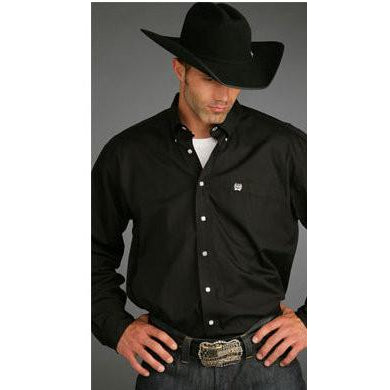 Cinch Men's Black Oxford Long Sleeve Button Up Western Dress Shirt - Pete's Town Western Wear