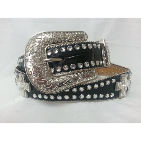 Blazin Roxx Ladies Scalloped Crystal Cross Black Leather Belt - Pete's Town Western Wear
