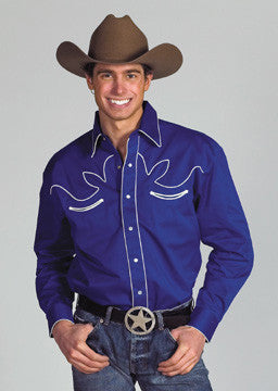 Western Express Royal Retro Men's Long Sleeve Western Shirt - Pete's Town Western Wear