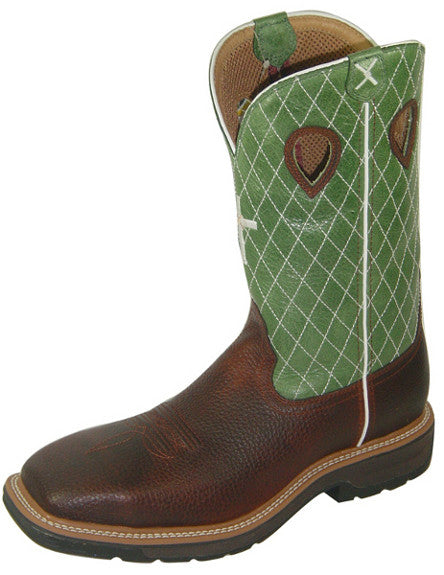 Twisted X Men's Lime/Cognac Cross Western Work Boots with Square Toe - Pete's Town Western Wear