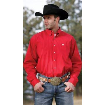 Cinch Men's Red Long Sleeve Pinpoint Western Dress Shirt With Square Buttons - Pete's Town Western Wear