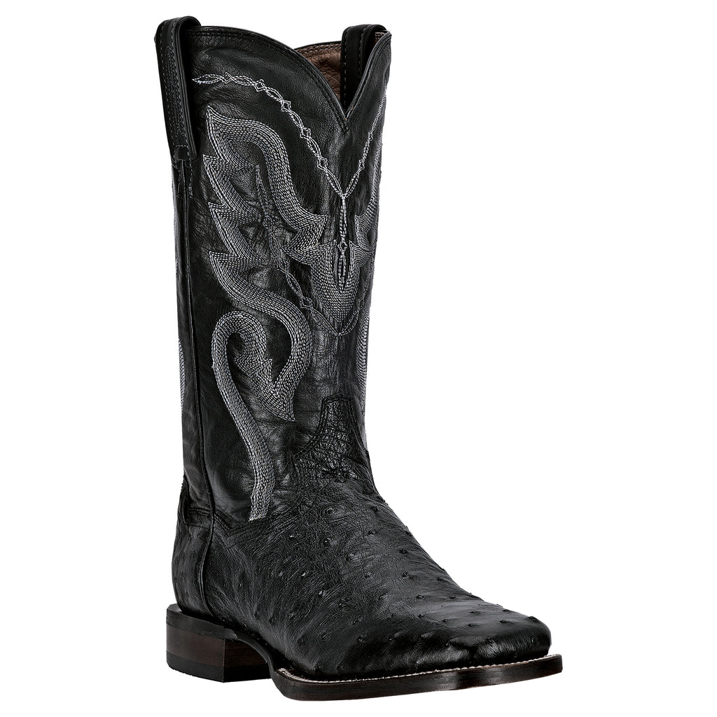 Dan Post Men's Black Full Quill Ostrich Square Toe Boot