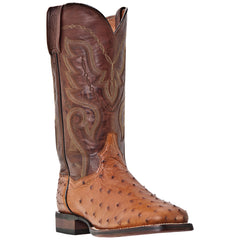 "Dan Post Men's 13 "" Cognac Full Quill Ostrich Skin Square Toe Western Cowboy Boot - Pete's Town Western Wear"