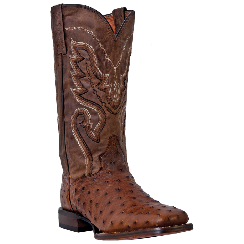 "Dan Post Men's 13"" Bay Apache Full Quill Ostrich Square Toe Western Cowboy Boots - Pete's Town Western Wear"