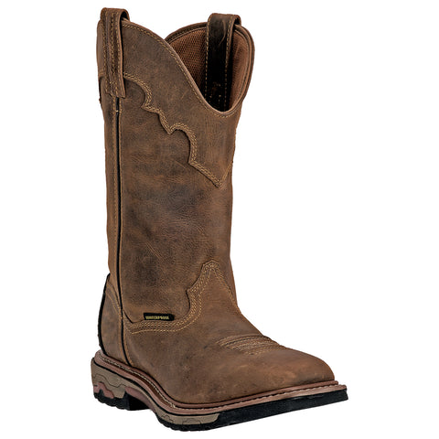 "Dan Post Men's 11"" Waterproof Tan Square Toe Work Boots with DPC Heat, Oil, and Slip Resistant Sole. - Pete's Town Western Wear"
