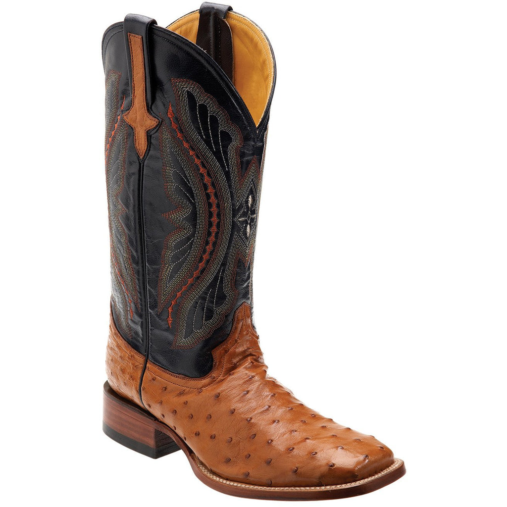 "Ferrini Men's 13"" Full Quill Ostrich Cognac and Navy Square Toe Western Cowboy Boots - Pete's Town Western Wear"