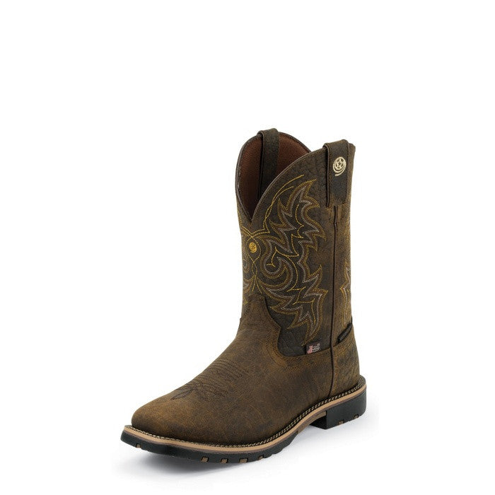 fc583be7732 Justin Mens George Strait Weathered Bark Waterproof Square Toe Western Work  Boots