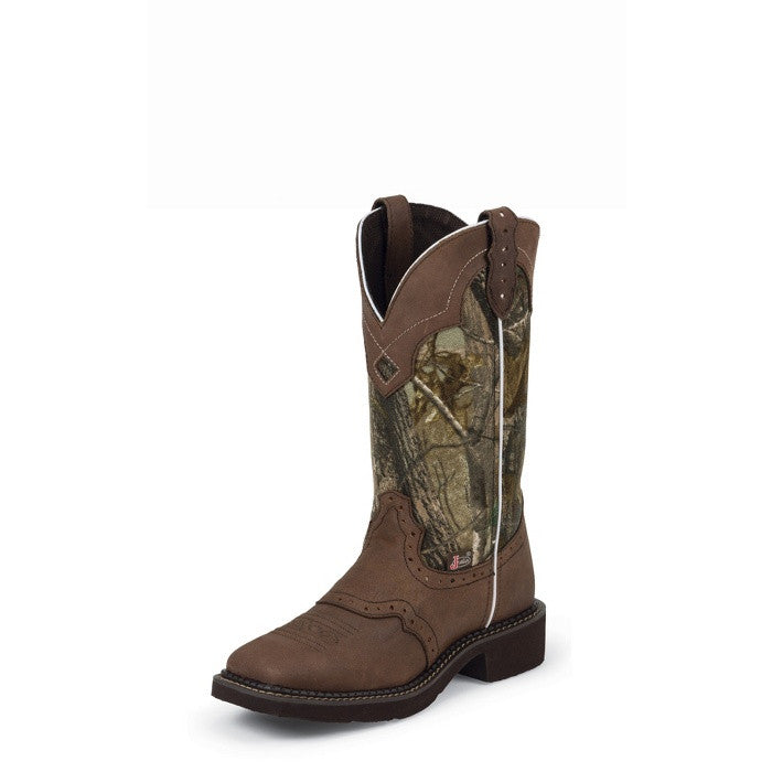 "Justin Womens Gypsy 12"" Aged Bark Real Tree Camo Cowgirl Boots - Pete's Town Western Wear"