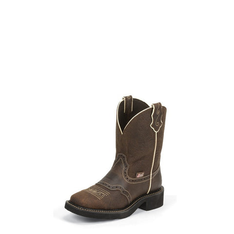 "Justin Womens Gypsy 8"" Brown Flower Embossed Wide Square Toe Cowgirl Boots - Pete's Town Western Wear"