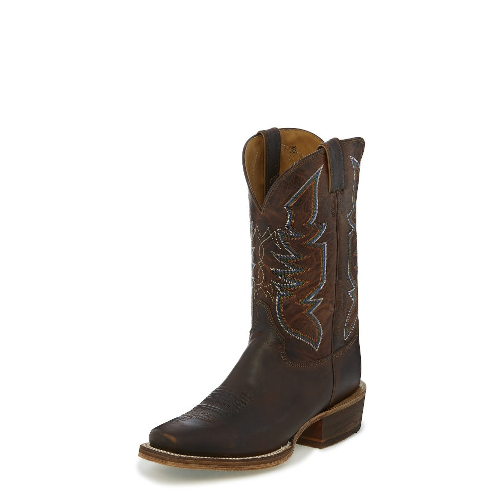 "Justin Men's Bent Rail Collection 11"" Aged Cognac Square Toe Pull-On Western Cowboy Boot - Pete's Town Western Wear"