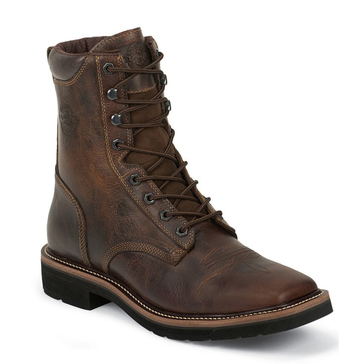 "Justin Men's 8"" Rugged Tan Leather Square STEEL Toe Lace-Up Work Boot. - Pete's Town Western Wear"