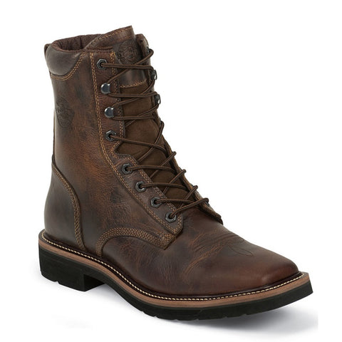 "Justin Men's 8"" Rugged Tan Leather Square Toe Lace-Up Work Boot - Pete's Town Western Wear"