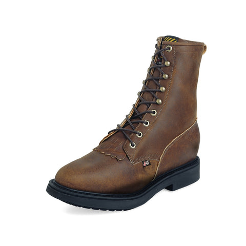 "Justin Men's Double Comfort Collection 8"" Aged Bark Round STEEL Toe Lace-Up Work Boot - Pete's Town Western Wear"