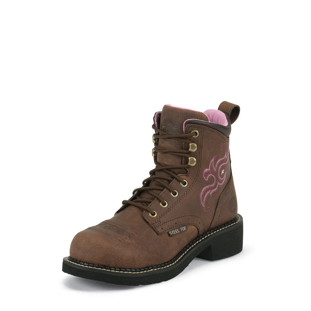 "Justin Women's Katerina 6"" Gypsy STEEL Round Toe Lace-Up Work Boot - Pete's Town Western Wear"