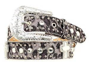 Nocona Ladies Vintage Black Cheetah with Crystal Cross Leather Belt