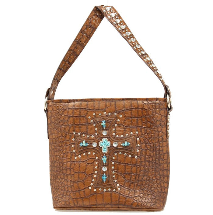 Ladies Nocona Brown Bucket Cross Gator Purse - Pete's Town Western Wear
