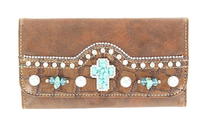 Ladies Nocona Brown Cross Gator Wallet - Pete's Town Western Wear