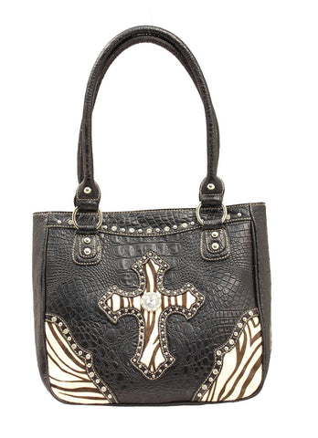 Ladies Nocona Black Croc with Cross Purse - Pete's Town Western Wear