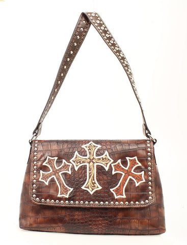 Ladies Nocona Flap Brown Handbag with Croc Print and Cross Embroidery Purse