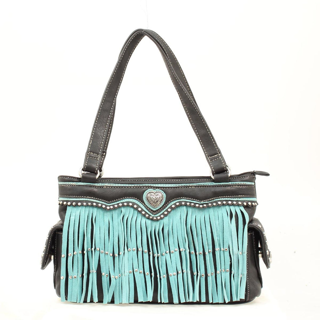 Ladies Nocona Black/Turquoise Fringe Purse - Pete's Town Western Wear