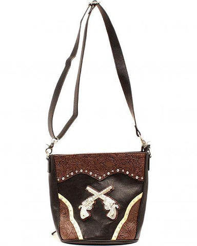 Ladies Nocona Black Pistol Overlay Purse - Pete's Town Western Wear