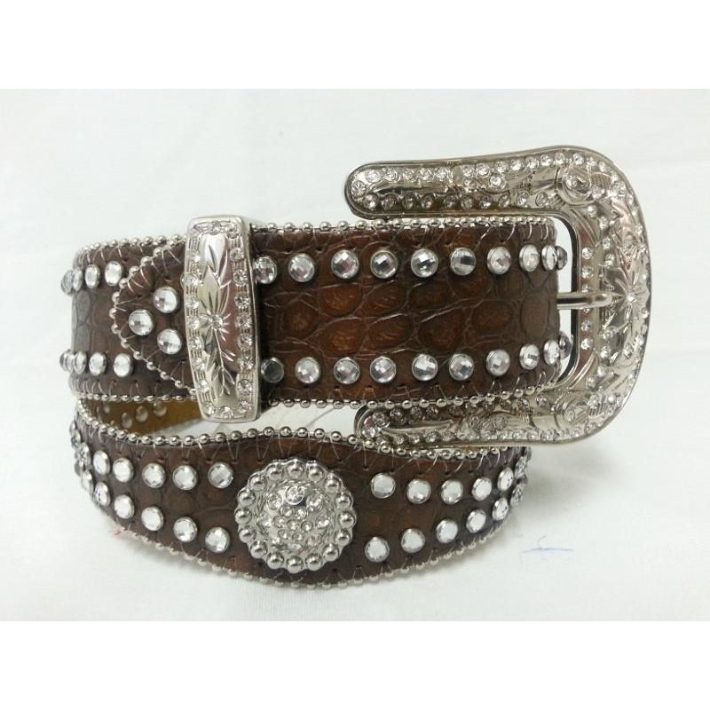 Girls Scalloped Brown Crockodile Print Rhinestone Leather Belt - Pete's Town Western Wear