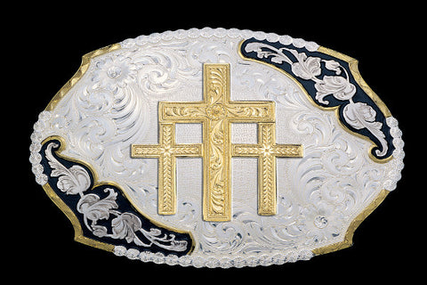 Montana SilverSmith Triple Cross Buckle Western Belt Buckle - Pete's Town Western Wear