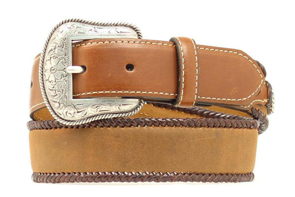 Kids Western Fashion Laced Edge Brown Leather Belt - Pete's Town Western Wear