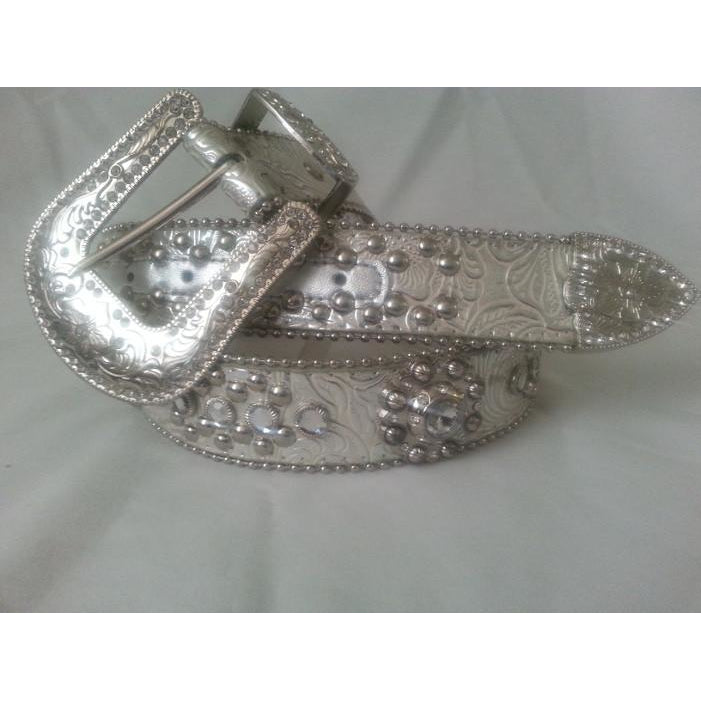 Blazin Roxx Ladies Embossed Floral with Rhinestones Leather Belt - Pete's Town Western Wear