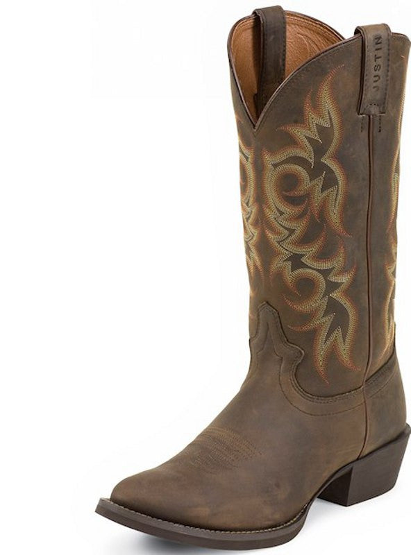 "Justin Men's Stampede Collection 13"" Sorrel Apache Brown Pull-On Boot. - Pete's Town Western Wear"