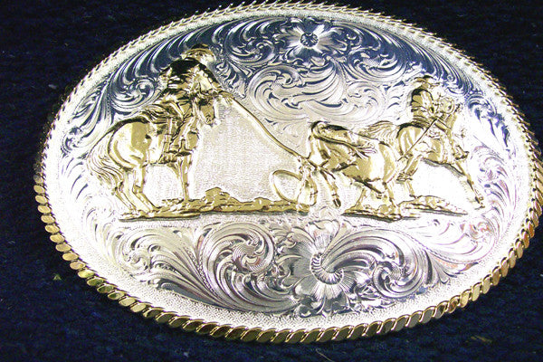 Montana SilverSmith Large Oval Team Roper Belt Buckle - Pete's Town Western Wear