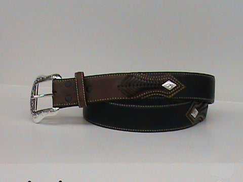 Nocona Men's Black Three Tone Long Ride Belt - Pete's Town Western Wear