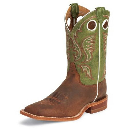 "Justin Men's Bent Rail 11""Cognac/Green Square Toe Pull-On Western Cowboy Boots - Pete's Town Western Wear"