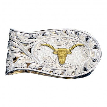 Montana Silversmiths Longhorn Rounded Money Clip - Pete's Town Western Wear