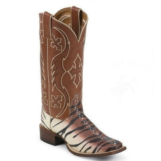 Nocona Women's Brandy Faux Tiger Sting Ray Cowgirl Boots - Pete's Town Western Wear