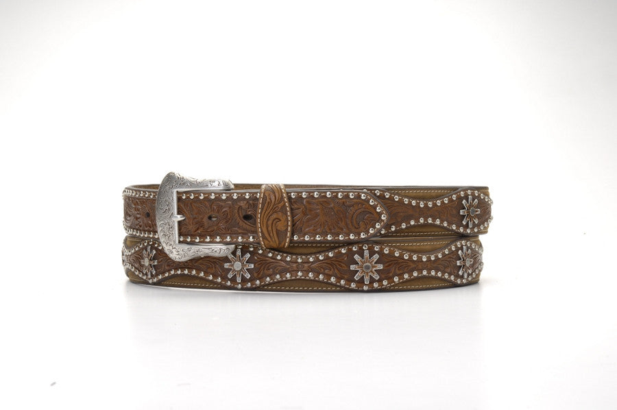 Nocona Spur Ornament Tooled Brown Leather Belt - Pete's Town Western Wear