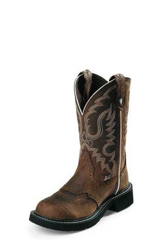"Justin Womens Gypsy Cowgirl Boots 11"" Pull On's Aged Bark - Pete's Town Western Wear"