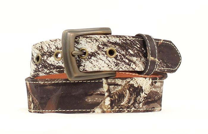 Kids Mossy Oak Breakup Leather Belt - Pete's Town Western Wear