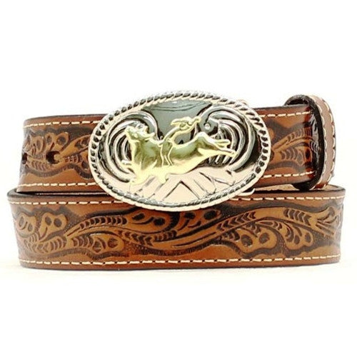 Kids Western Fashion Bull Rider Brown Tooled Leather Belt - Pete's Town Western Wear