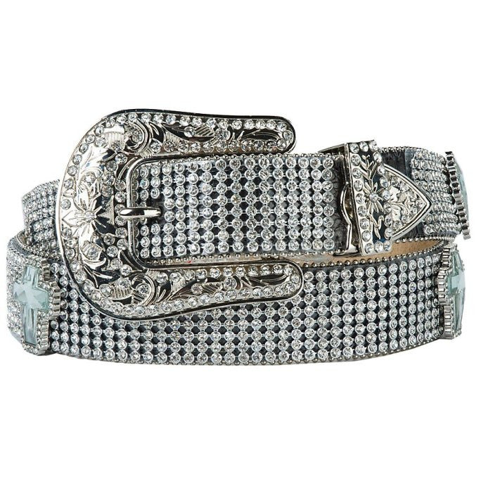 Nocona Ladies Crystal Croos Concho Black Leather Belt - Pete's Town Western Wear