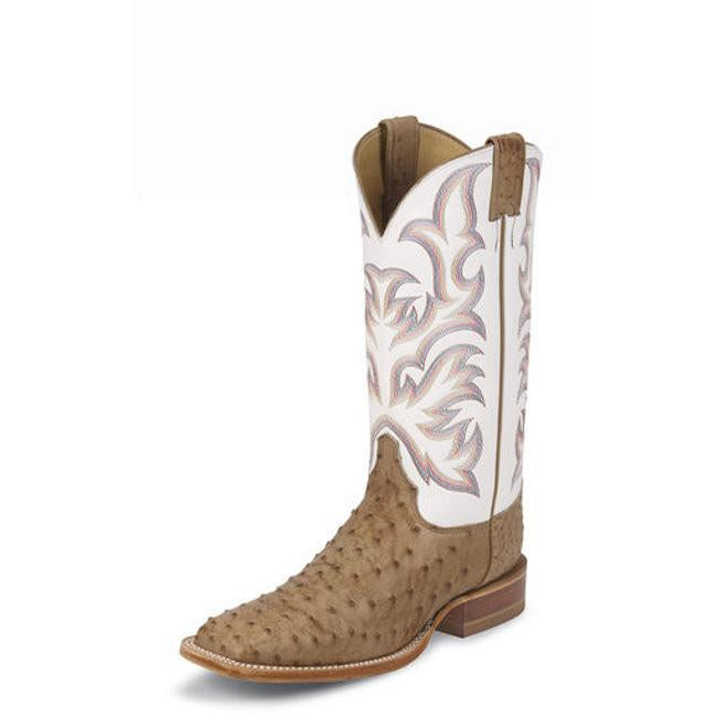 "Justin Men's AQHA Remuda Series 13"" White/Tan Full Quill Ostrich Square Toe Pull-Ons - Pete's Town Western Wear"