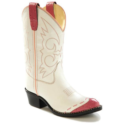 Jama Child's Western Cowgirl Boots Corona White n Pink Leather - Pete's Town Western Wear