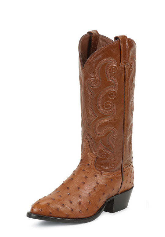 Tony Lama Mens Peanut Brittle Full Quill Ostrich Round Toe Boots - Pete's Town Western Wear