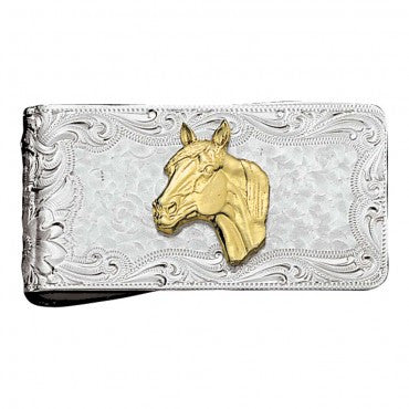 Montana Silversmiths Horse Head Square Money Clip - Pete's Town Western Wear